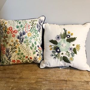 Set of two embroidered throw pillows